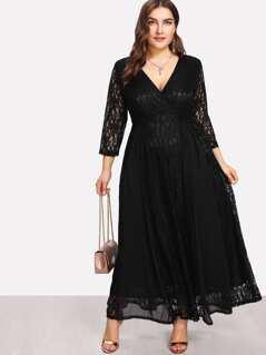 Plus Surplice Neck Floral Lace Overlay Dress