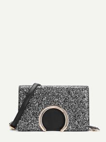 Metal Detail Glitter Chain Bag