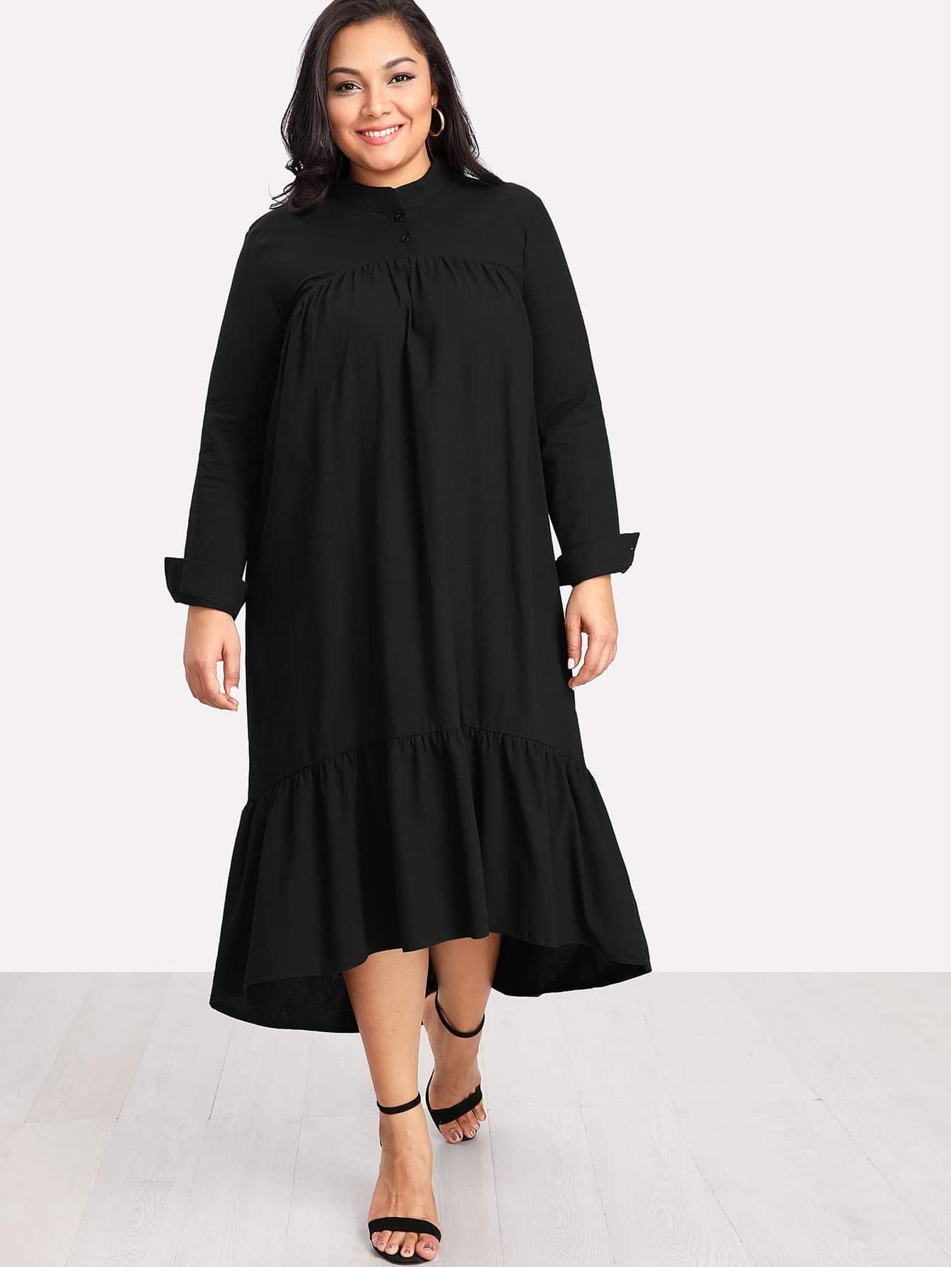 Plus Ruffle Hem Solid Dress