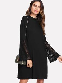 Lace Flounce Sleeve Tunic Dress