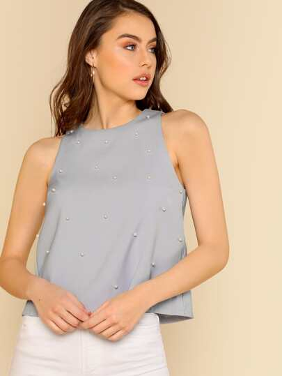 Pearl Beaded Top With Keyhole BLUE SILVER