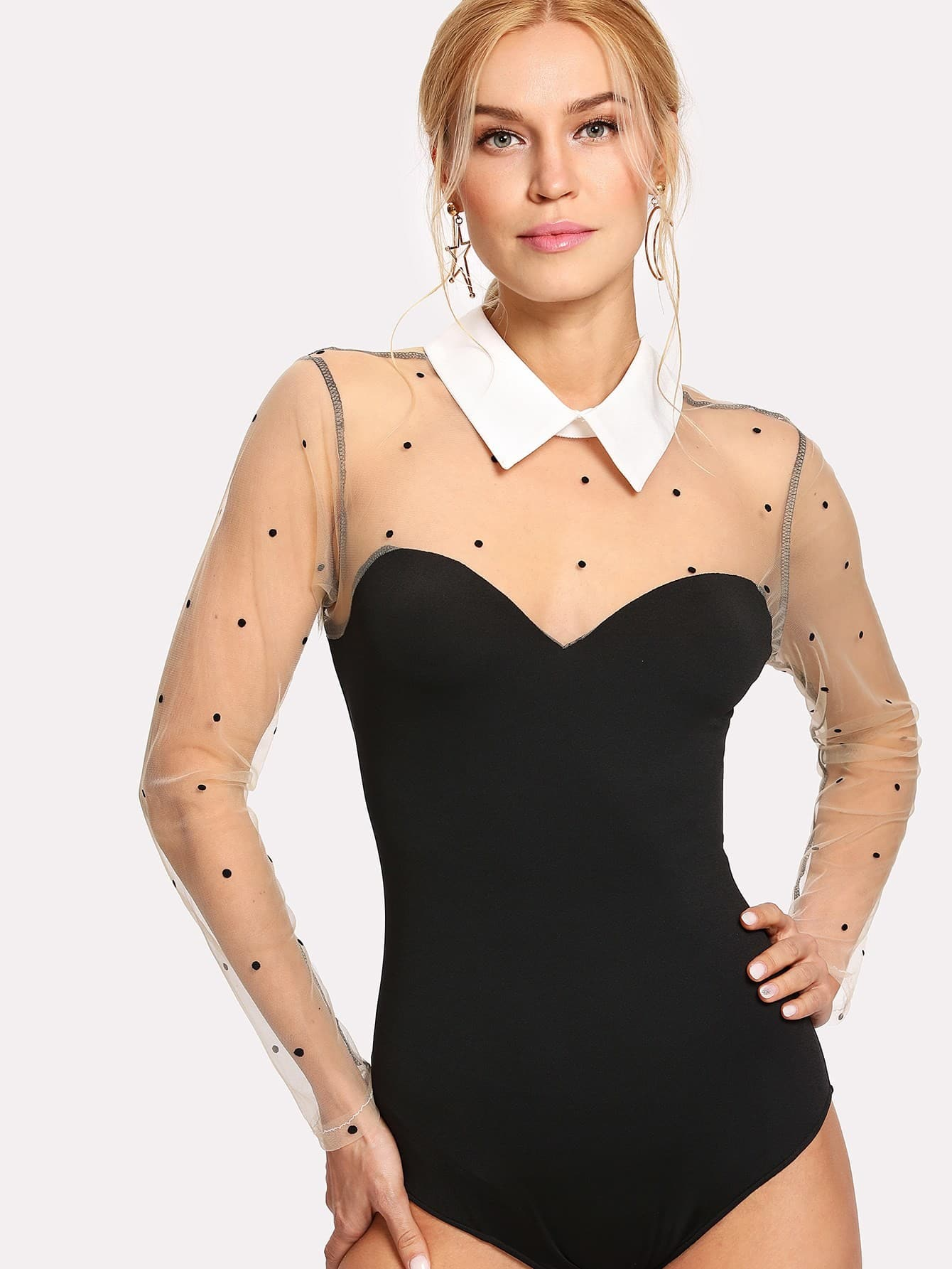 Contrast Dotted Mesh Bodysuit contrast dotted mesh bodysuit