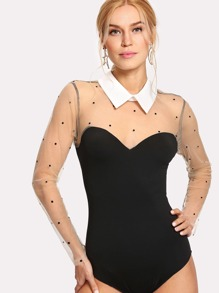 Contrast Dotted Mesh Bodysuit