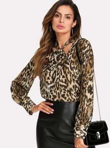 V Cut Tied Neck Leopard Blouse