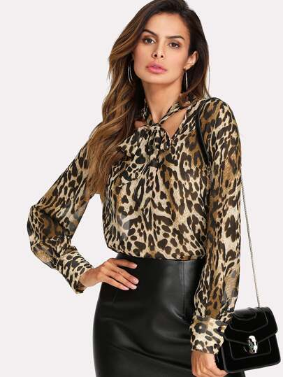 V Cut Tied Neck Leopard Blouse