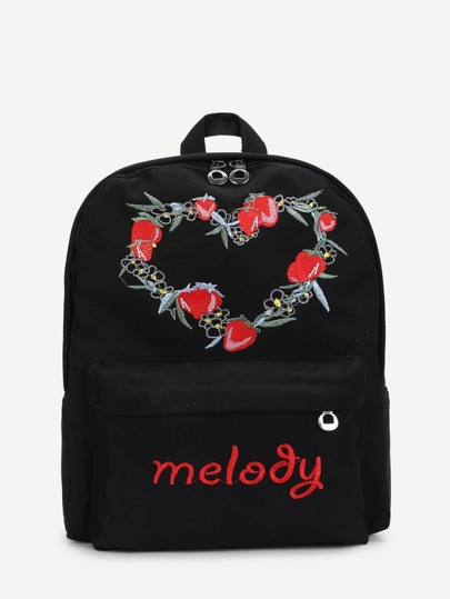Strawberry Embroidery Double Zipper Canvas Backpack