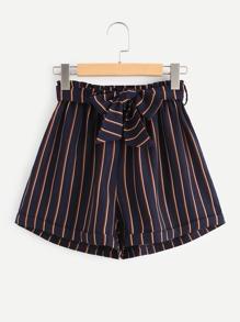 Self Tie Vertical Striped Cuffed Shorts