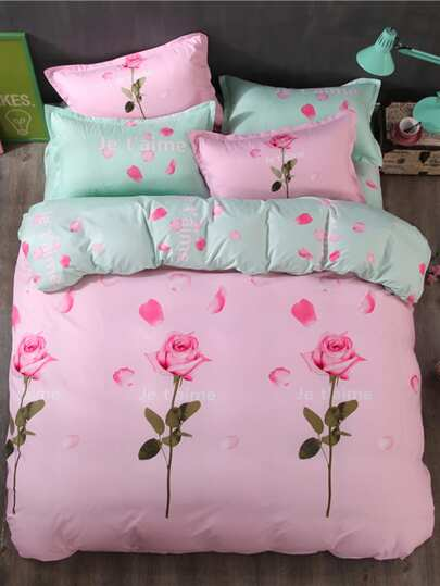 2.2m 4Pcs Rose Print Duvet Cover Set