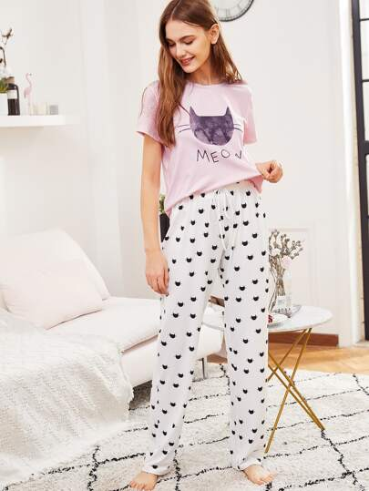 Cat Print Top & Drawstring Pants PJ Set