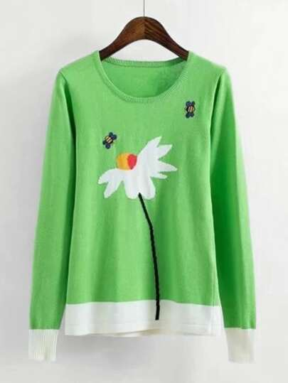 Flower Pattern Jumper Sweater
