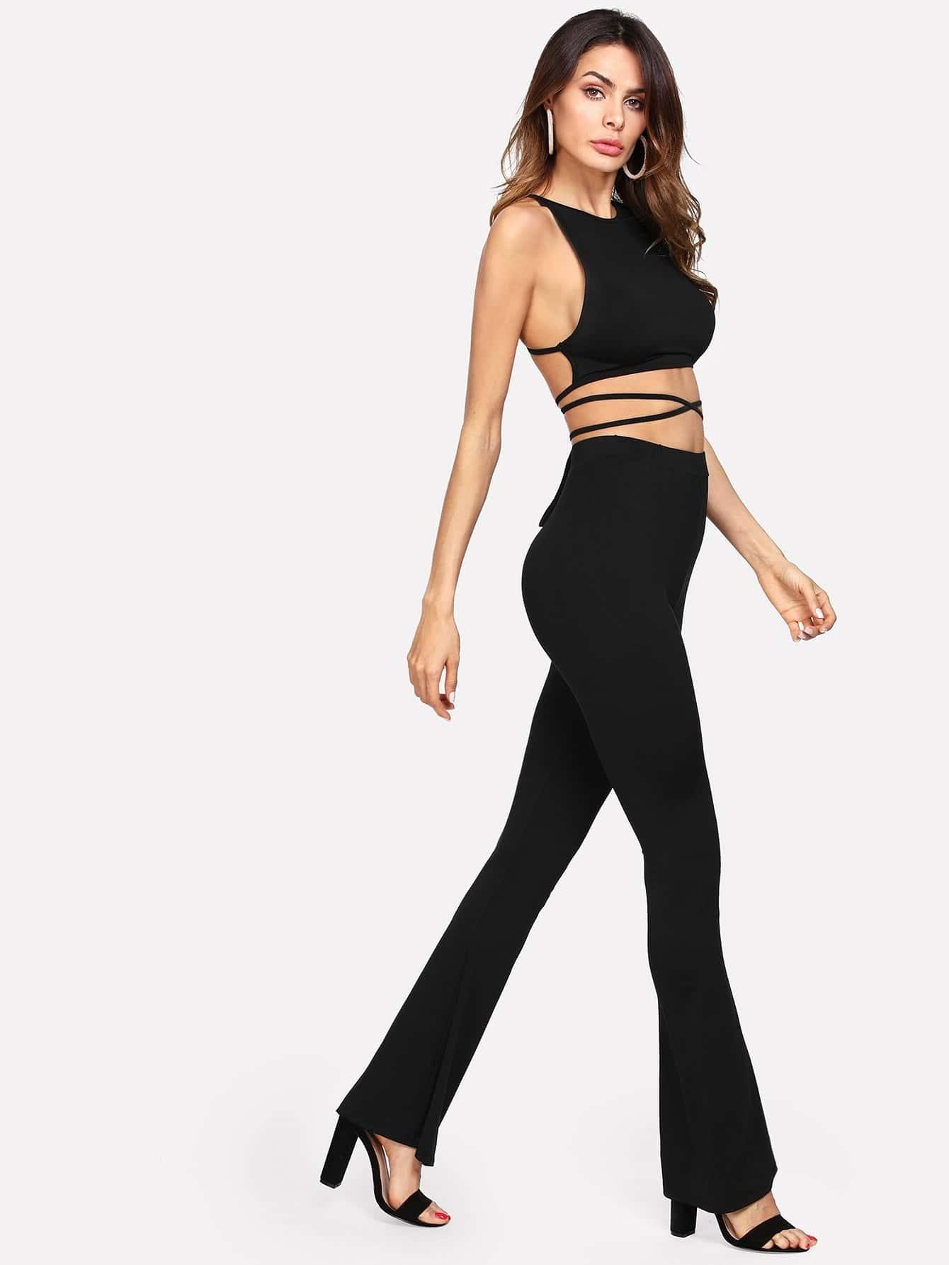 Lace Up Backless Crop Top & Flare Hem Pants Set