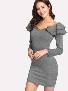 Tiered Ruffle Embellishing Neck Plaid Dress