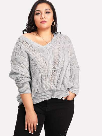 V Neckline Cable Knit Sweater