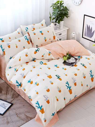 2.2m 4Pcs Cactus Print Duvet Cover Set