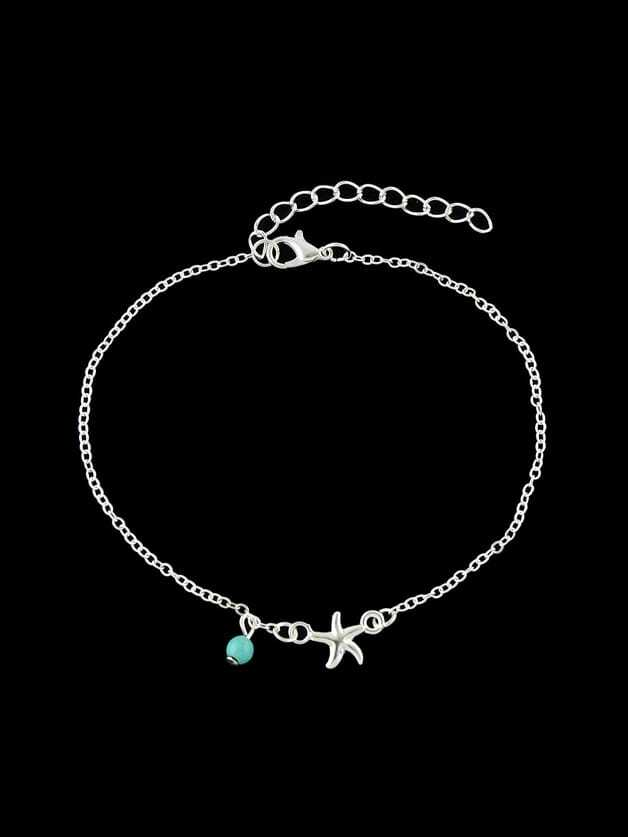 Silver  1 Pc Bohemia Chain Anklets Star Pattern