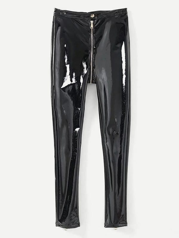 Zipper Fly Patent Leather Pants