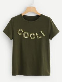 Pearl Beaded Letter T-shirt