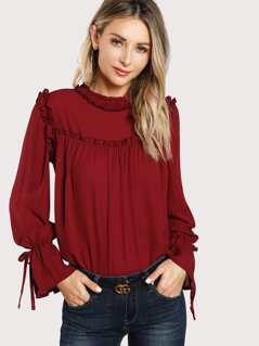 Belted Flounce Sleeve Frill Trim Top