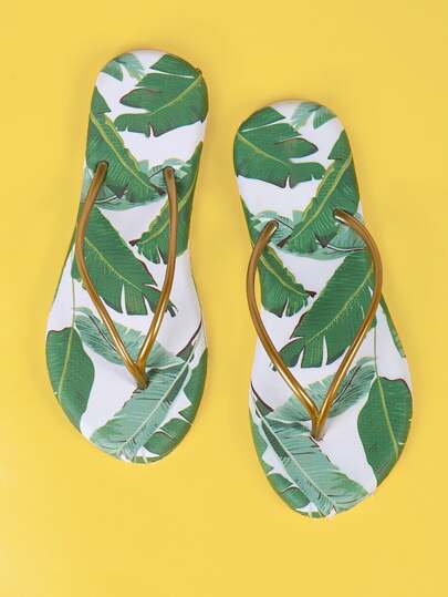 Bronze Thong Tropical Print Flip Flops WHITE