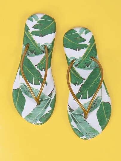 Bronze Thong Tropical Print Flip Flops WHITE