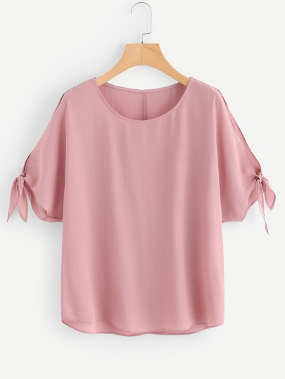 Tie Detail Split Dolman Sleeve Top