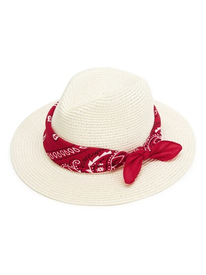 Straw Fedora Hat With Scarf