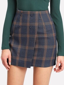 Tartan Plaid Button Wrap Front Skirt