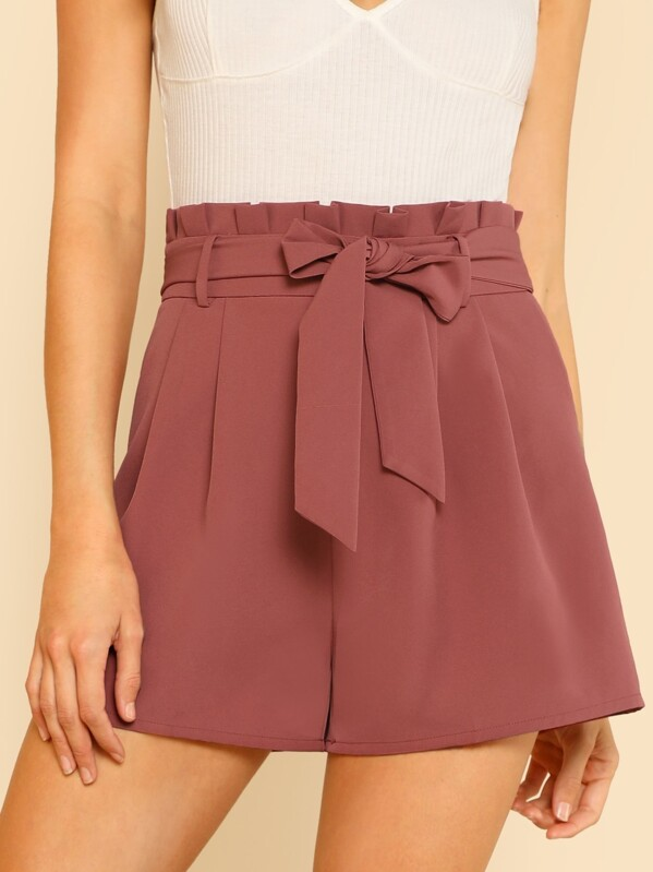 Tie Front Pleated Waist Shorts, Racquelle Lawrence