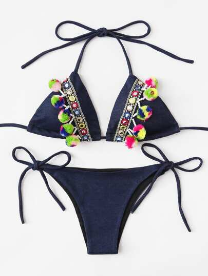 Pom Pom Decorated Denim Bikini Set