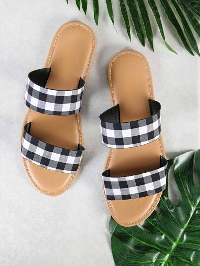Gingham Doulbe Strap Slide Sandals BLACK