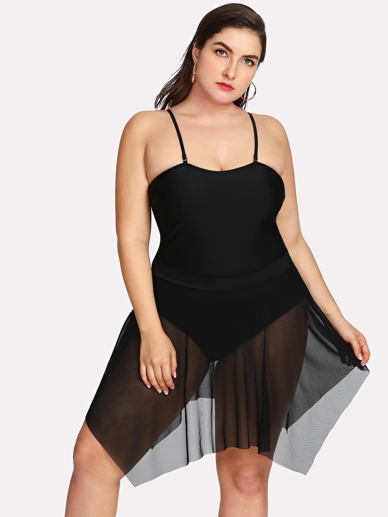 Asymmetrical Mesh Swim Dress Set split colorblock swim dress set