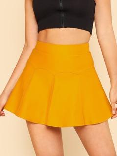 Paneled Round Mini Skirt MUSTARD