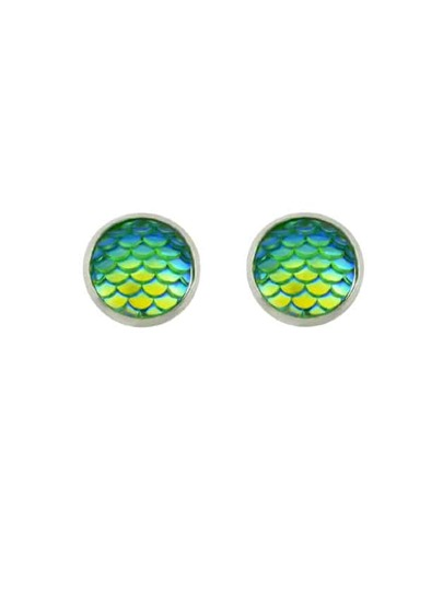 Green Fish Scales Pattern Stud Earrings
