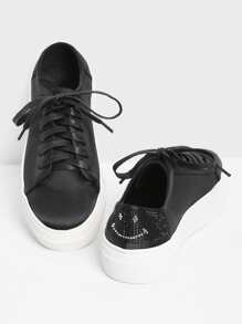 Rhinestone Detail Lace Up PU Sneakers