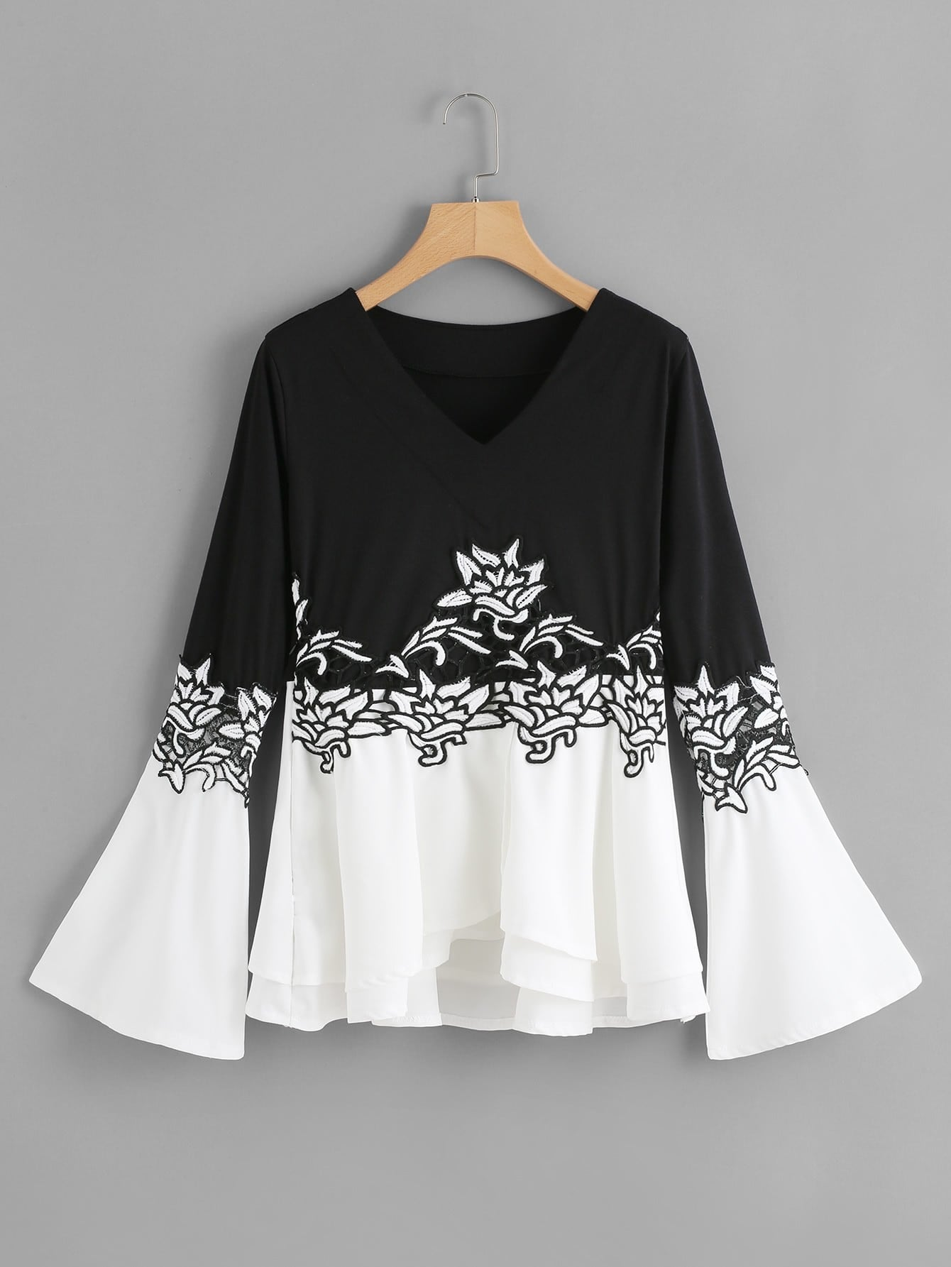 Two Tone Embroidered Applique T-shirt tree print asymmetric two tone t shirt