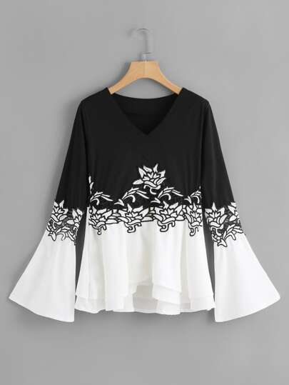Two Tone Embroidered Applique T-shirt