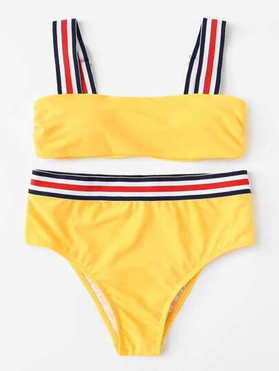Striped Trim Bikini Set