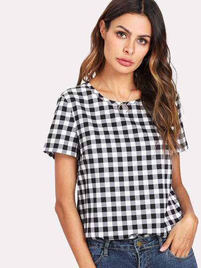 Keyhole Back Gingham Top