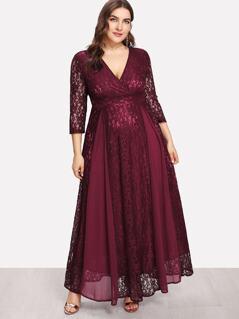 Plus High Waist Lace Overlay Wrap Dress