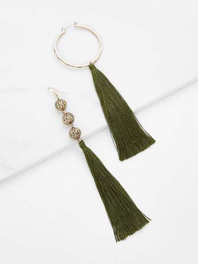 Mismatch Tassel Drop Earrings