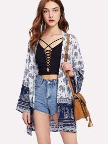 Elephant And Geometric Print Open Front Kimono
