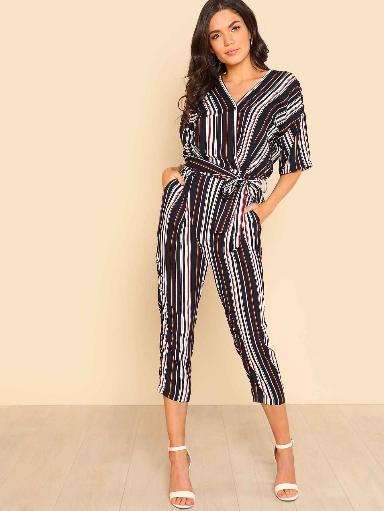 Self Belted Striped Wrap Jumpsuit mixed print belted wrap jumpsuit