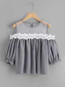 Sheer Mesh Panel Lace Trim Checked Top
