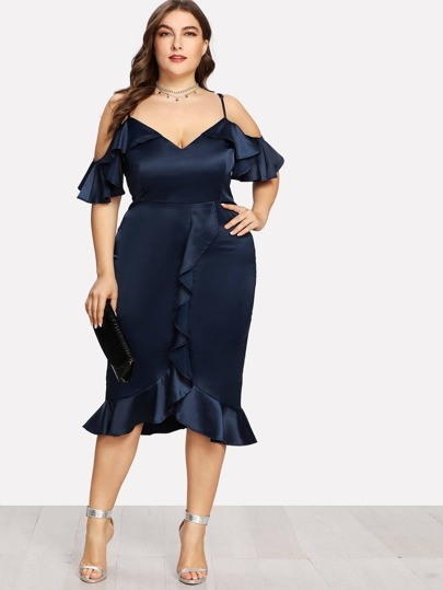 Cold Shoulder Ruffle Detail Pencil Dress
