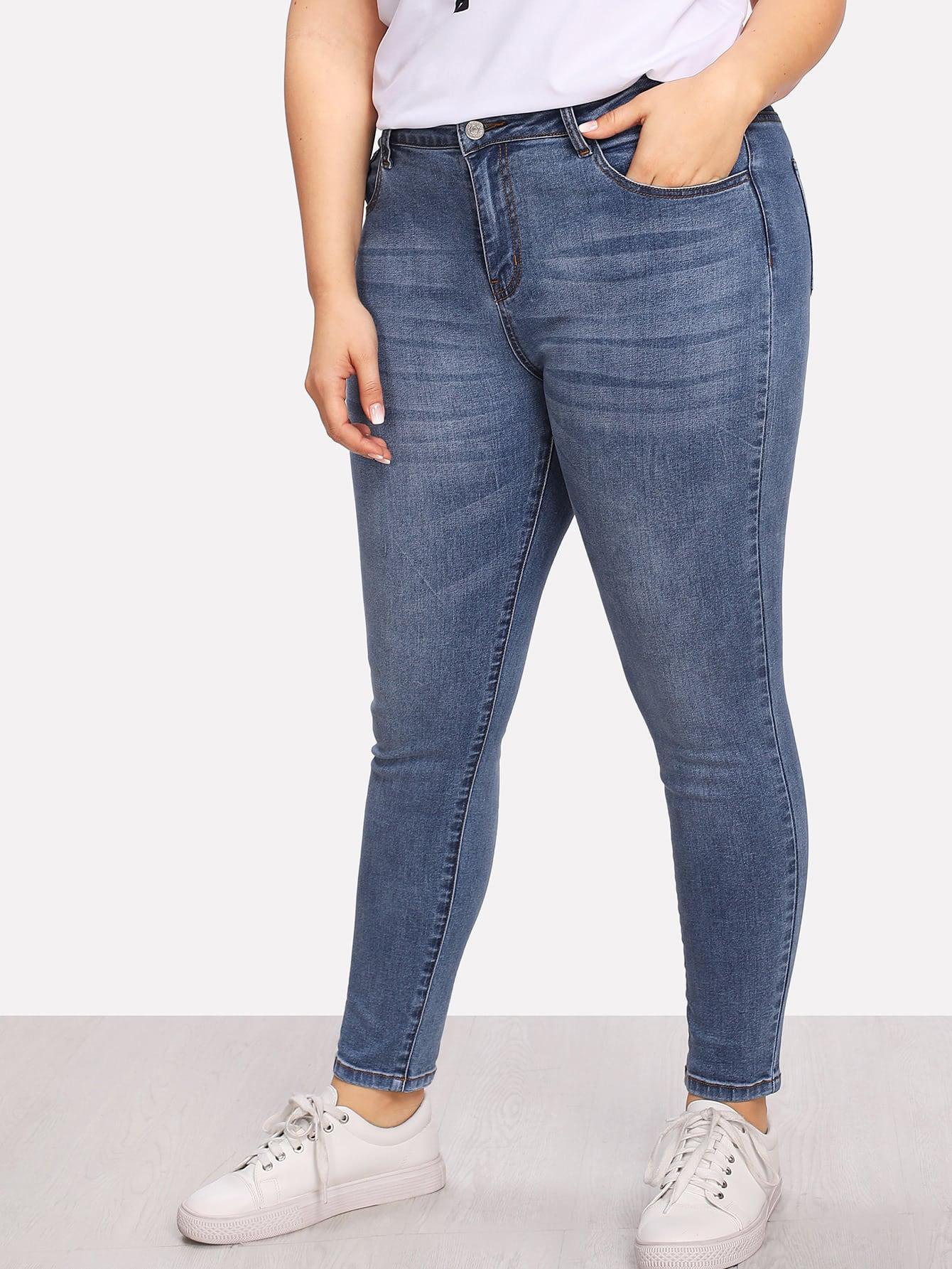 Plus Bleach Wash Skinny Jeans цена 2017