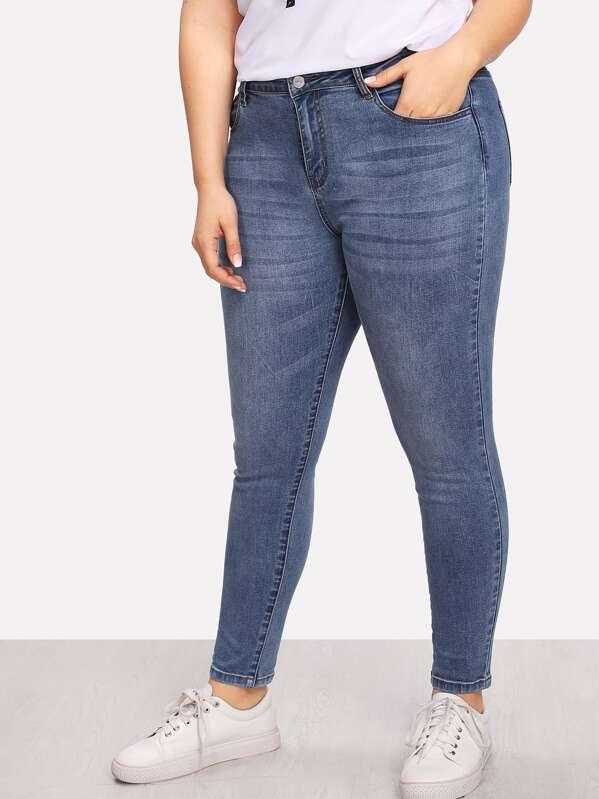 Plus Bleach Wash Skinny Jeans, Franziska