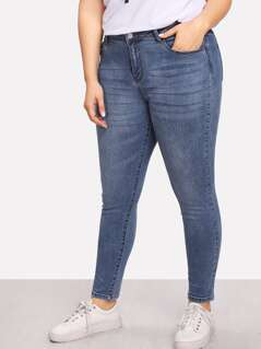 Plus Bleach Wash Skinny Jeans