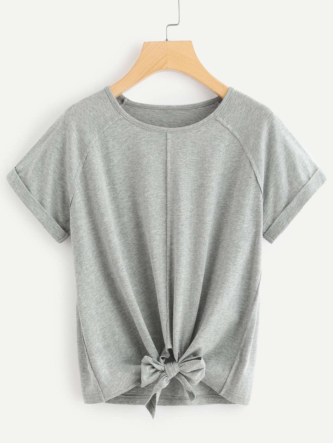 Knot Front Cuffed Tee