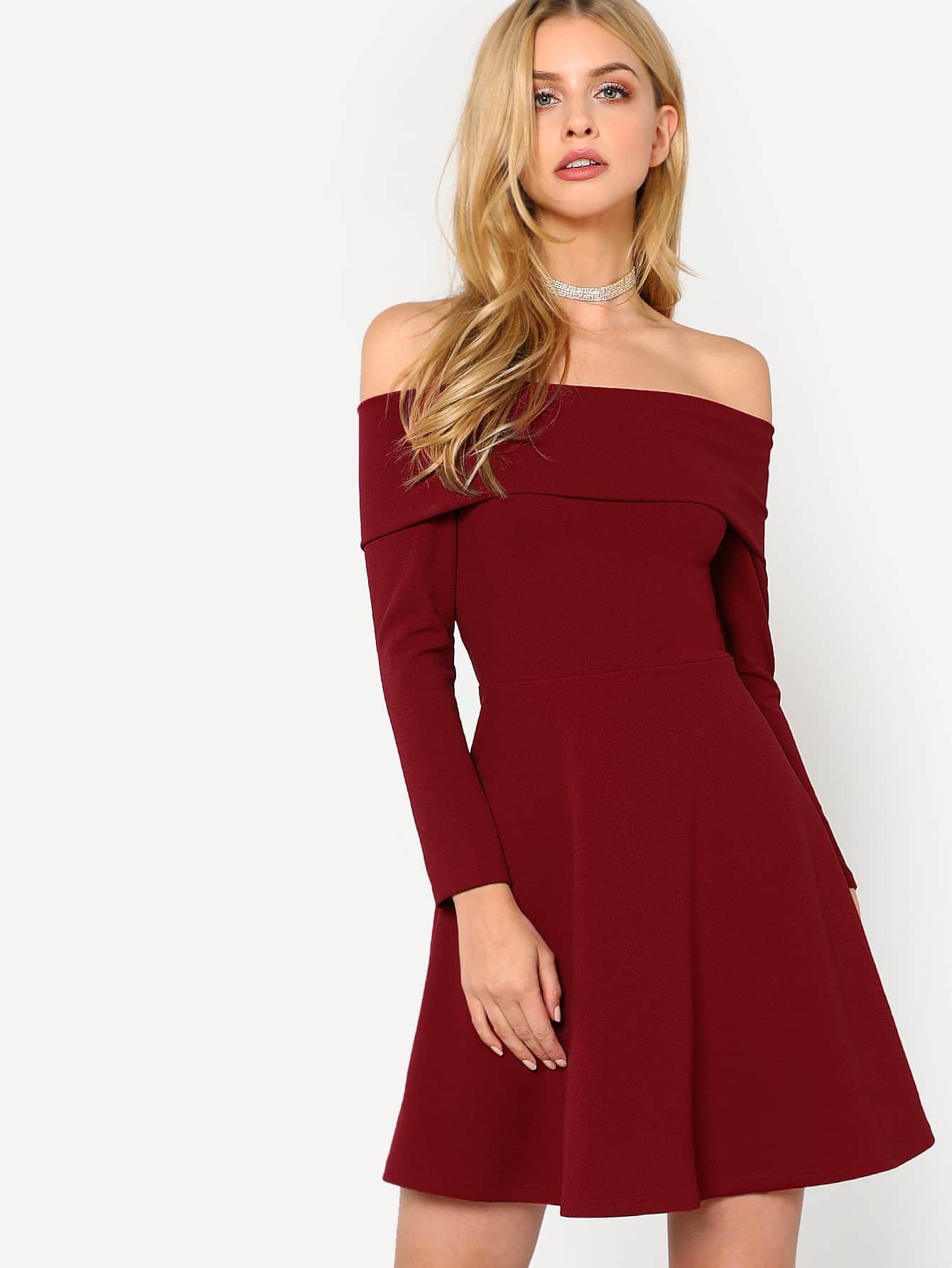 Fit & Flare Fold Over Bardot Dress