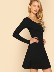 Buttoned Scoop Neck Rib Knit Dress